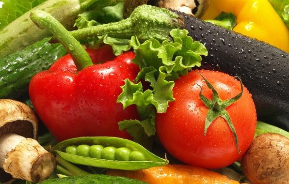 Картинка вода, капли, гриб, горошек, огурец, баклажан, перец, натюрморт, овощи, томат, помидор, морковь, картофель