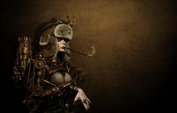 Картинка девушка, металл, фон, шапка, механизм, робот, кольцо, стимпанк, курит