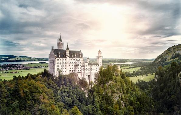 Картинка лес, пейзаж, замок, гора, Германия, Bavaria, Hohenschwangau