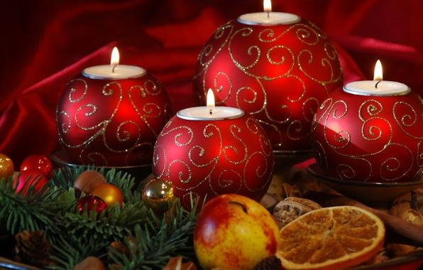 Картинка праздник, шары, новый год, яблоко, апельсин, рождество, свечи, christmas, new year, хвоя