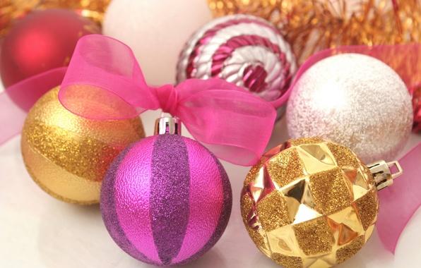 Картинка белый, фиолетовый, макро, розовый, праздник, новый год, лента, white, золотой, gold, new year, бант, pink, ...