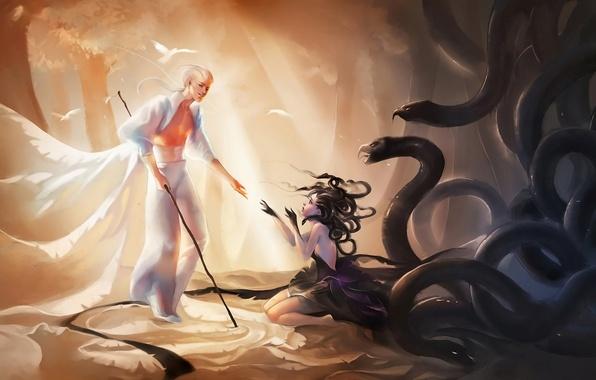 Картинка лес, девушка, деревья, птицы, змея, босиком, перчатки, профиль, мужчина, белые волосы, на коленях, бинты, sakimichan, …