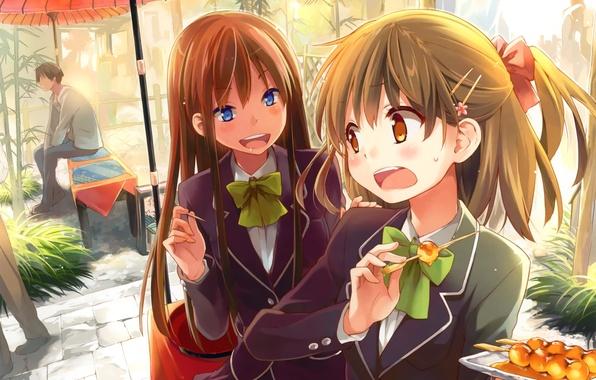 Картинка девушки, еда, зонт, аниме, арт, школьницы, сидят, eretto