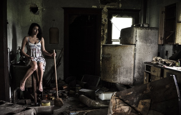 Картинка девушка, уборка, кухня