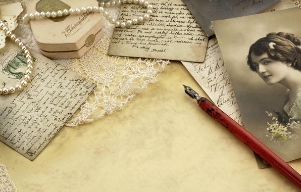Картинка девушка, ретро, бумага, ручка, жемчуг, бусы, фотографии, кружева, vintage, чернила, винтаж, старая, карточки, письма, открытки, …