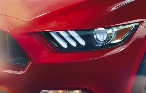 Картинка красный, Mustang, Ford, фара, мустанг, перед, red, мускул кар, форд, muscle car, front