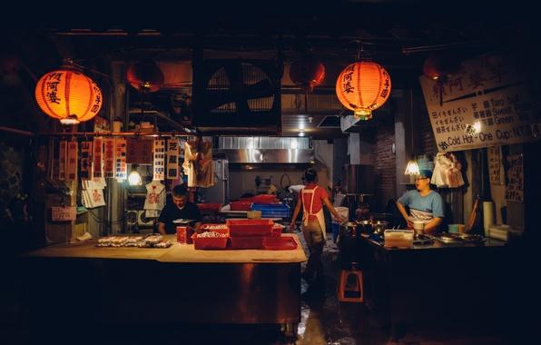 Картинка свет, люди, темно, тень, Китай, ресторан, Шанхай, быт