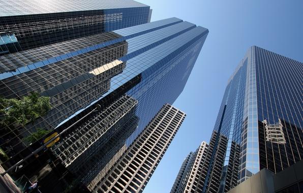 Картинка небо, стекло, люди, города, улица, человек, вид, окна, дома, окно, фотографии, америка, нью-йорк, небоскрёбы, улицы, …
