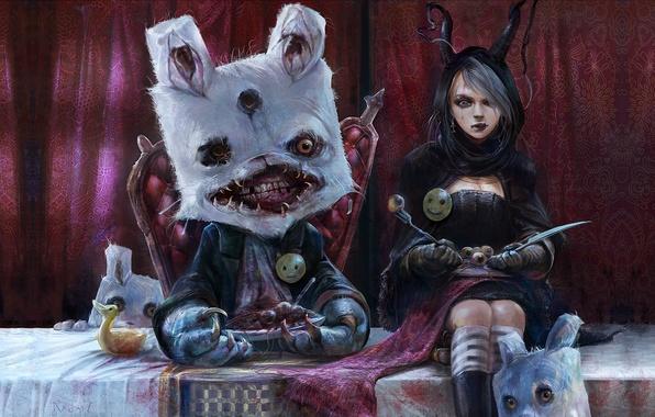 Картинка глаза, стол, сюрреализм, кровь, монстр, кролик, пасть, нож, девочка, вилка, алиса, штора, трон, смайлик, обед