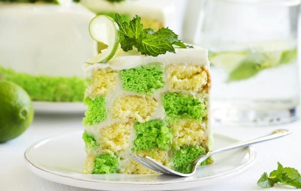 Картинка сладость, лайм, мята, выпечка, тортик