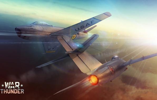 Картинка Небо, Рисунок, Самолет, истребитель, Скорость, Полет, Нос, АРТ, Корея, МиГ-15, Fagot, F-86, War Thunder, Два, …