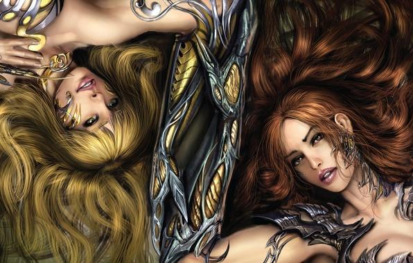 Картинка поза, девушки, доспехи, арт, когти, лежат, Witchblade
