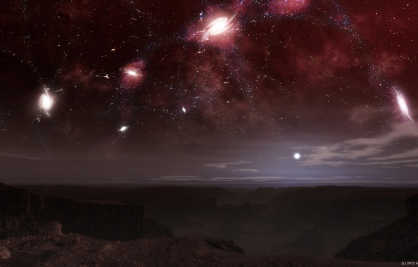 Картинка небо, звезды, ночь, созвездия, галактики, чужая планета
