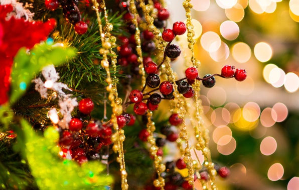 Картинка зима, украшения, золото, праздник, игрушки, елка, ель, ветка, Новый Год, Рождество, бусы, ёлка, мишура, Christmas, …