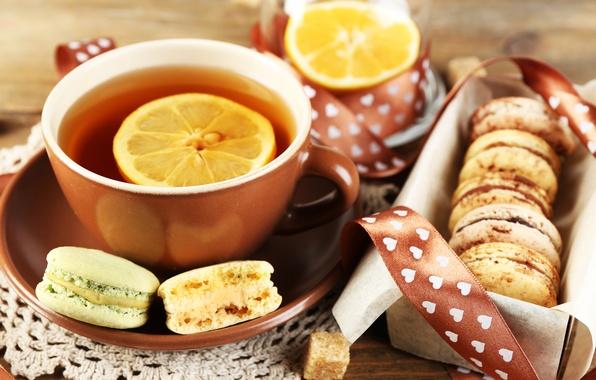 Картинка лимон, чай, печенье, чашка, десерт, sweet, dessert, cookies, macaron, макарун, almond