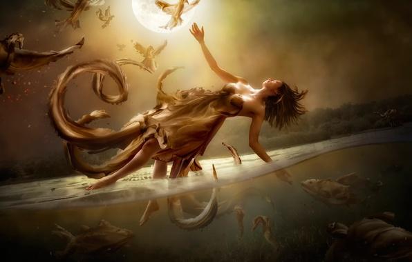 Картинка вода, девушка, фантазия, луна, арт, полёт, Diversity