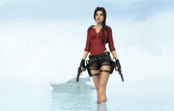Картинка море, вода, девушка, лодка, шорты, катер, красавица, lara croft, tomb raider