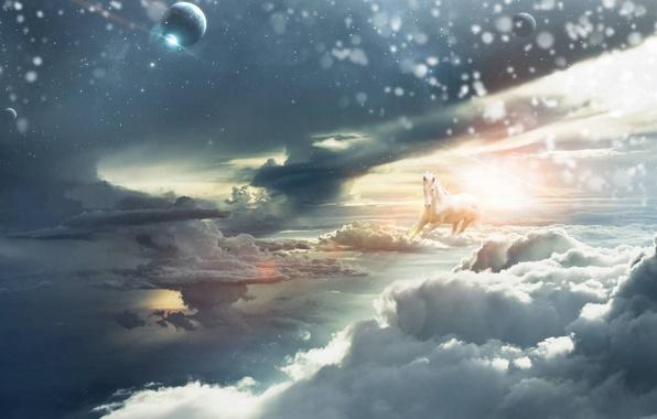 Картинка небо, солнце, лошадь, планеты, Облака