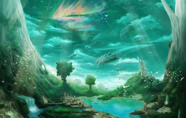 Картинка деревья, птицы, город, река, водопад, корабли, арт, гигантские, habata