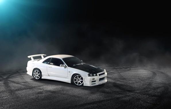 Картинка белый, Nissan, white, ниссан, Skyline, R34, скайлайн
