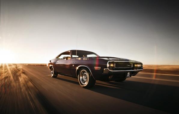 Картинка дорога, небо, фары, скорость, колеса, Dodge, Challenger