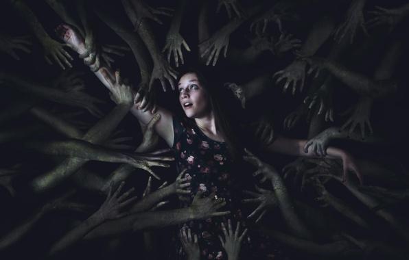 Картинка девушка, абстракция, руки