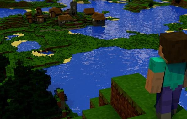 Картинка пейзаж, куб, minecraft, майнкрафт