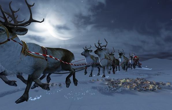 Картинка зима, снег, волшебство, луна, звёзды, месяц, Рождество, домики, moon, Санта Клаус, олени, Christmas, snow, stars, …