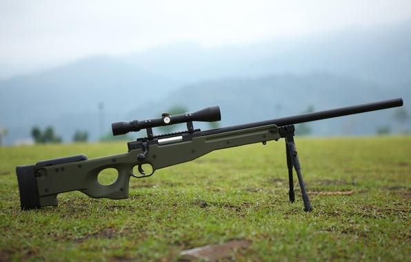 Картинка трава, оружие, земля, оптика, винтовка, снайперская, awp, сошки, awm, Arctic Warfare Magnum