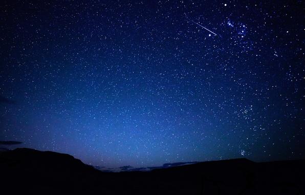 Картинка небо, звезды, горы, ночь, след, метеор