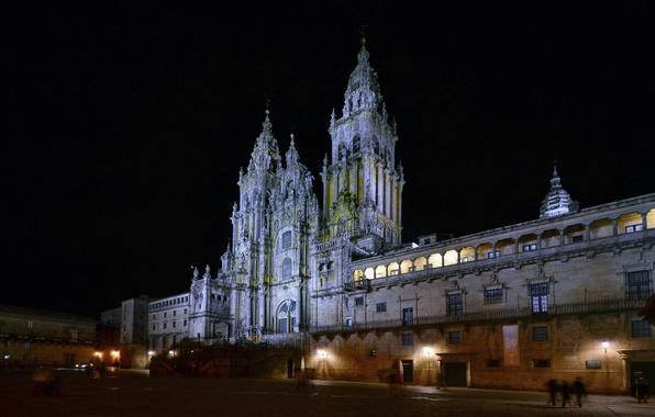 Картинка ночь, огни, площадь, собор, Испания