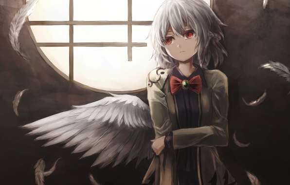 Картинка девушка, крылья, аниме, перья, арт, touhou, kishin sagume, thkani