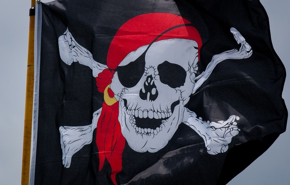 Картинка череп, флаг, пират, веселый роджер