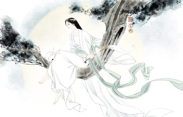 Картинка девушка, настроение, ветер, ветка, кролик, арт, зайчик