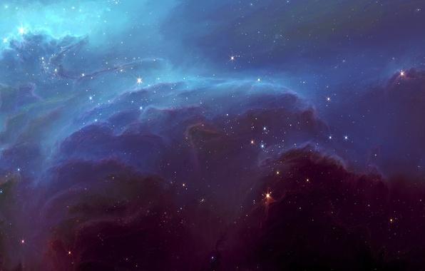 Картинка космос, звезды, облака, туманность, свечение, арт, HellsEscapeArtist, TylerCreatesWorlds