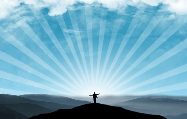 Картинка небо, свобода, лучи, человек