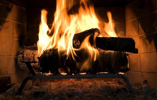 Фото обои огонь, дрова, камин