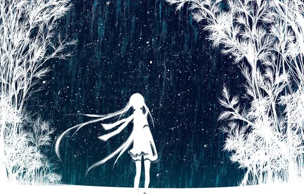 Картинка небо, девушка, звезды, деревья, ночь, арт, vocaloid, hatsune miku, вокалоид, хатсуне мику