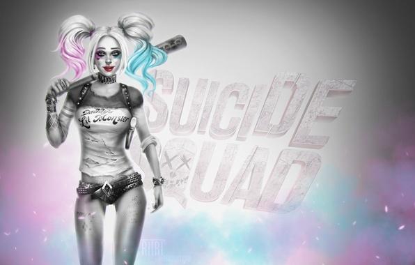 Картинка взгляд, девушка, улыбка, волосы, красота, арт, бита, harley quinn, DC Comics, Suicide Squad, Отряд самоубийц