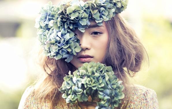 Картинка цветы, настроение, азиатка, венок, гортензии