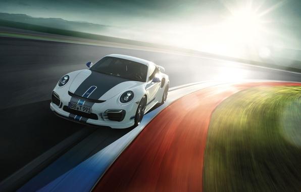 Картинка Солнце, Авто, Дорога, Белый, 911, Porsche, Машина, Turbo, Спорткар, by TechArt