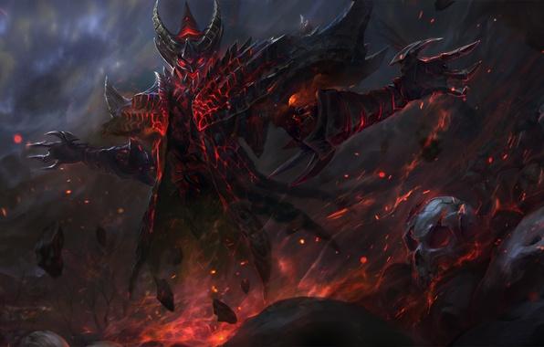 Картинка фантазия, тьма, огонь, магия, череп, демон, арт, diablo, fan art