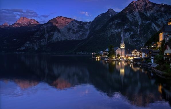 Картинка лес, горы, озеро, скалы, дома, вечер, Австрия, Hallstatt