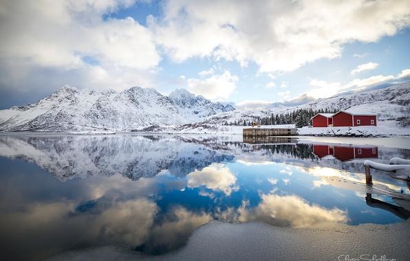Картинка облака, отражения, горы, утро, Норвегия, Лофотенские острова
