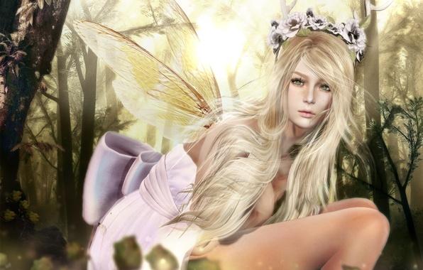 Картинка девушка, крылья, фея, венок