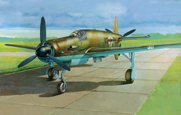 Картинка aircraft, war, airplane, aviation, Dornier, drawing, ww2, dogfight, german aircraft, Do 335, a heavy German …