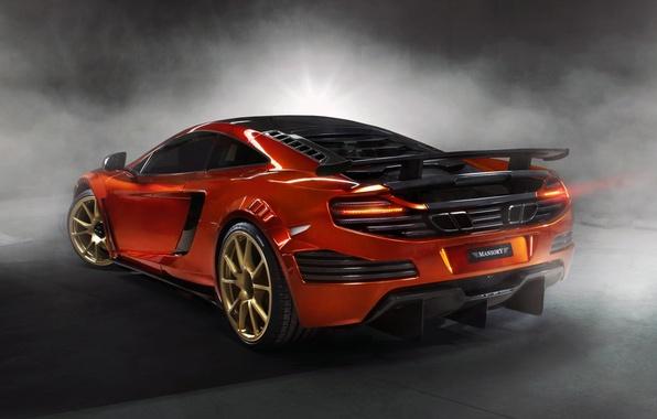 Картинка оранжевый, фон, тюнинг, дым, McLaren, суперкар, вид сзади, tuning, MP4-12C, Mansory, МакЛарен