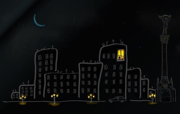Картинка небо, звезды, свет, ночь, город, рендеринг, луна, улица, окна, дома, месяц, фонари, автомобиль, Киев