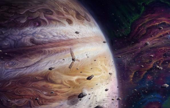Картинка космос, планета, спутник, астероиды, арт, юпитер, гигант, jupiter and juno