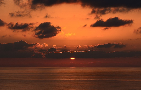 Картинка twilight, sea, ocean, sunset, seascape, clouds, sun, dusk, horizon